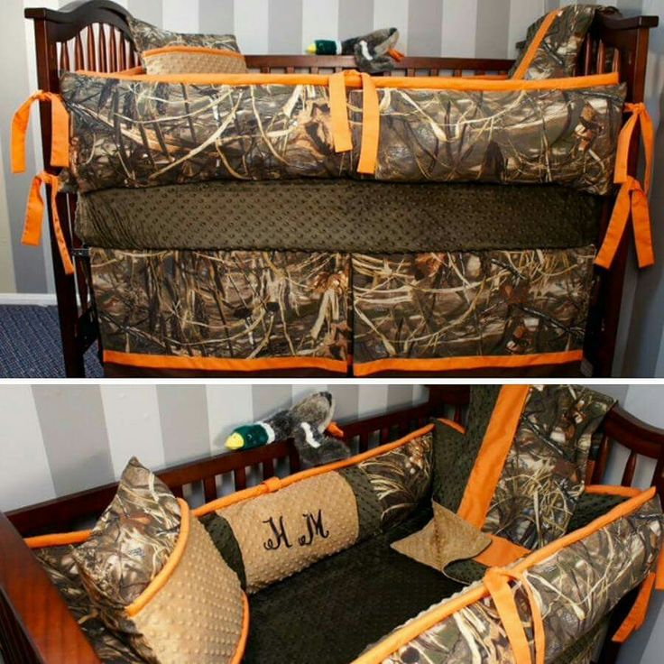 Orange themed camo crib set