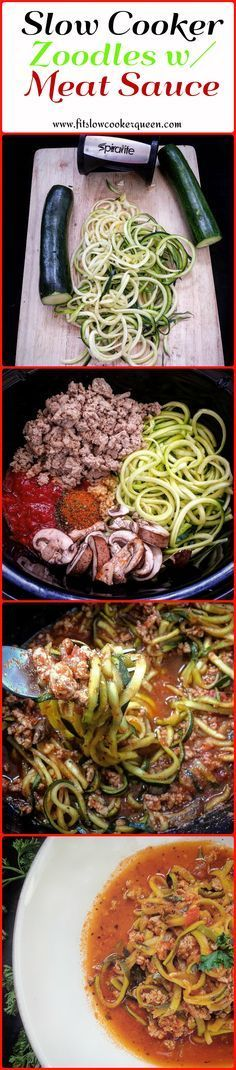 This slow cooker meal combines zoodles with marinara sauce and your choice of meat. There are only 3 main ingredients in this low-carb alternative to spaghetti.  #crockpot #slowcooker:
