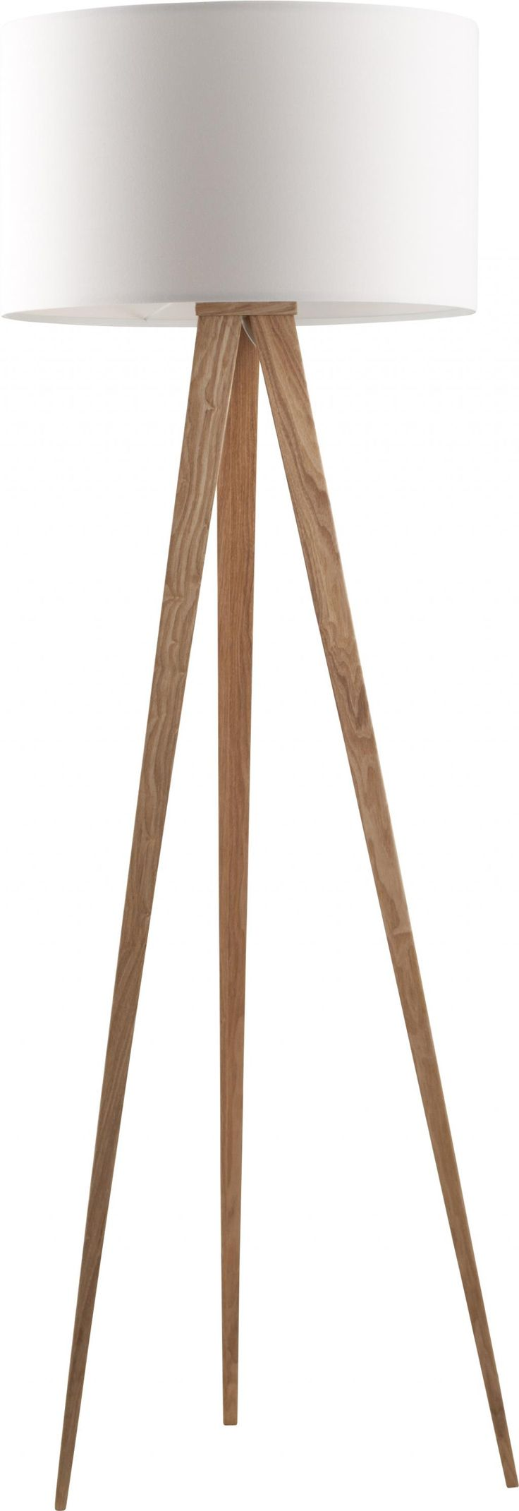 Vloerlamp Tripod - Hout - Wit - Zuiver