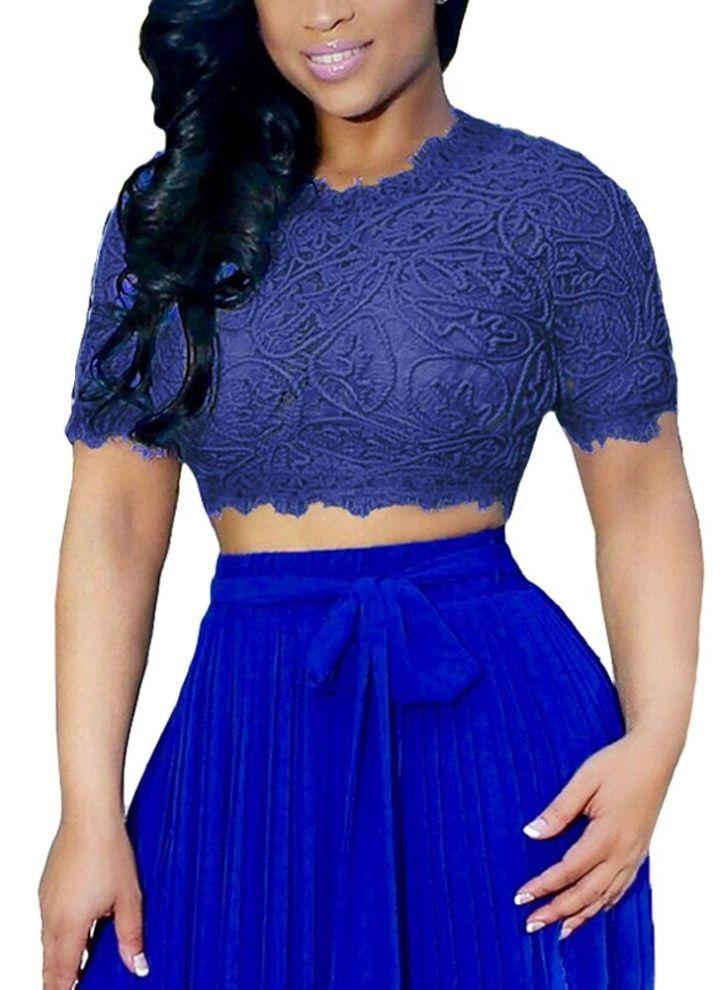 98d3766a42952 Sexy Women Sheer Lace Crop Top O-Neck Short Sleeve Crochet Tank Top ...