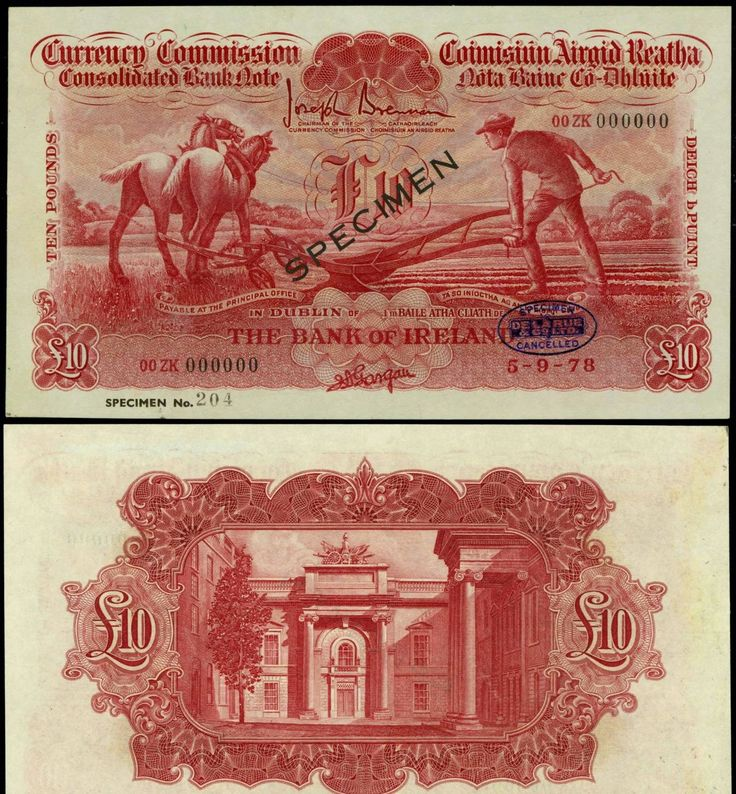 1978 £10 Ploughman colour trial in red - cancelled and overprinted Specimen.  Image shows front (ploughman and horse), plus reverse side (showing The Currency Commission Building, Dublin)