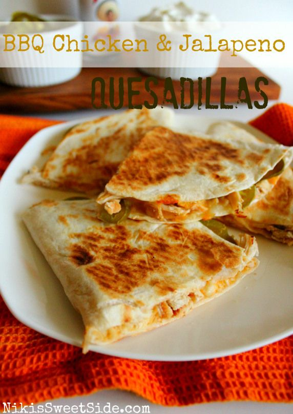 BBQ Chicken & Jalapeno Quesadillas - there were SO GOOD and so super easy since the chicken has only 4 ingredients and cooks in the crockpot!