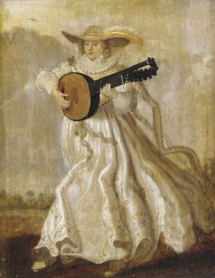 """Adriaen Pietersz van de Venne (Dutch, 1589-1662) • A lady dancing and playing the Lute in a Landscape """