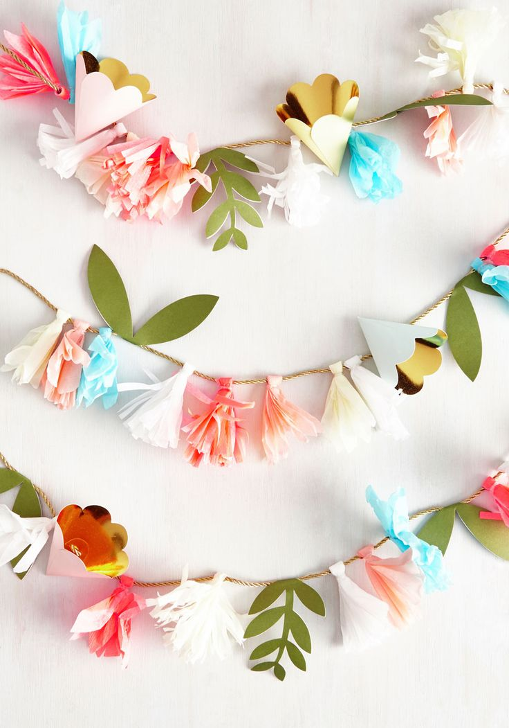 Cultivate Cuteness Garland. You may not have grown the pretty paper flowers on this garland yourself, but you still deserve credit for the charming choice to decorate with em! #multi #wedding #modcloth