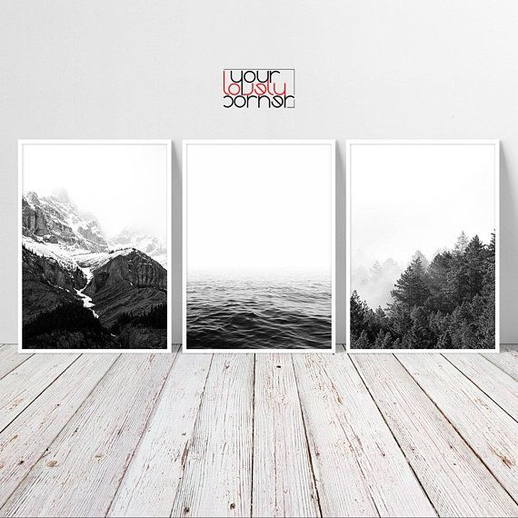 Nature Printable Wall Art Set Of 3 Prints Black And White Art Nature Wall Art Prints Minimalist Wall Art Digital Download Bedroom Decor In 2020 Nature Wall Art Nature Wall Minimalist Wall Art
