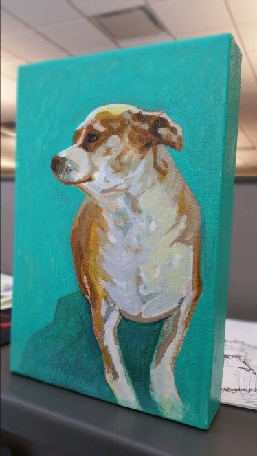 #art #artwork #painting #draw #creative #canvas #acrylic #dog #chihuahua #pitbull mix #pet this is lulu #happyface