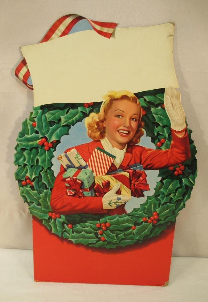 Vintage Die Cut CHRISTMAS SHOPPER Woman Store Display Sign Decoration 1940s 50s | eBay