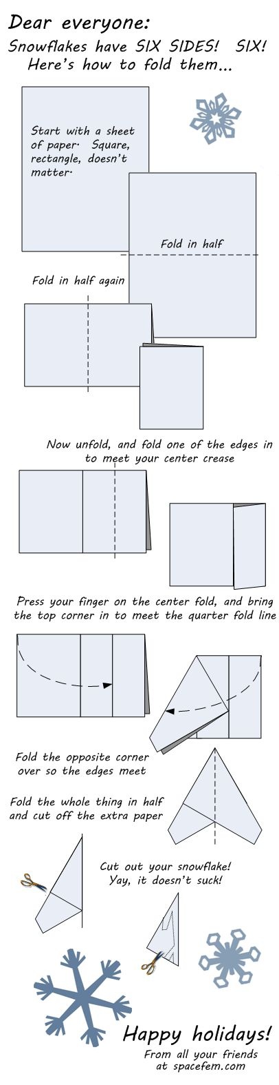 Folding paper to cut a perfect six-sided snowflake. Don't just eyeball it people, this is important, think of the children.