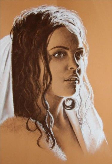 Portrait (Sangina) auf dem Tonpapier