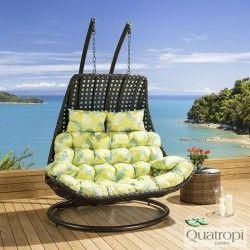 Outdoor Rattan 2 Person Garden Hanging Chair / Sunbed Black Green Leaf