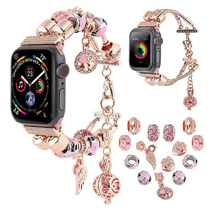 Compatible For Apple Watch Band 38mm 40mm 42mm 44mm Koudhug 2 In 1 Diy Charms Bands Women Jewelry Bea Apple Watch Bands Women Diy Watch Band Apple Watch Bands