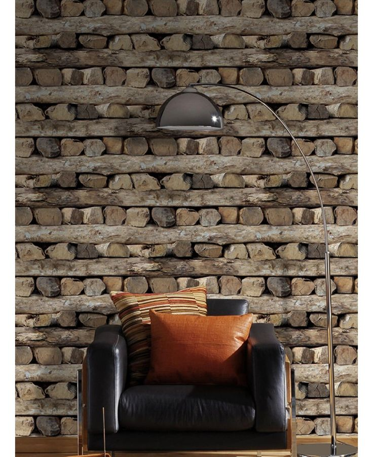 This striking Stacked Logs themed wallpaper features a detailed logs design in natural tones of brown and black, on a lightly textured paper with shading to add to the realistic effect