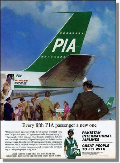 PIA press ad, 1965: This 1965 PIA ad (published in Dawn) bares claims that one can't even imagine PIA to make in this day and age. When this ad appeared in print, PIA was enjoying rapid growth within and outside Pakistan. It had already been noted for having 'the most stylishly dressed air hostesses', great service, a widespread route and, ahem, 'having a generous and tasteful selection of wines, whiskeys and beers' on offer.'* *Serving alcoholic drinks on PIA was banned in April 1977.