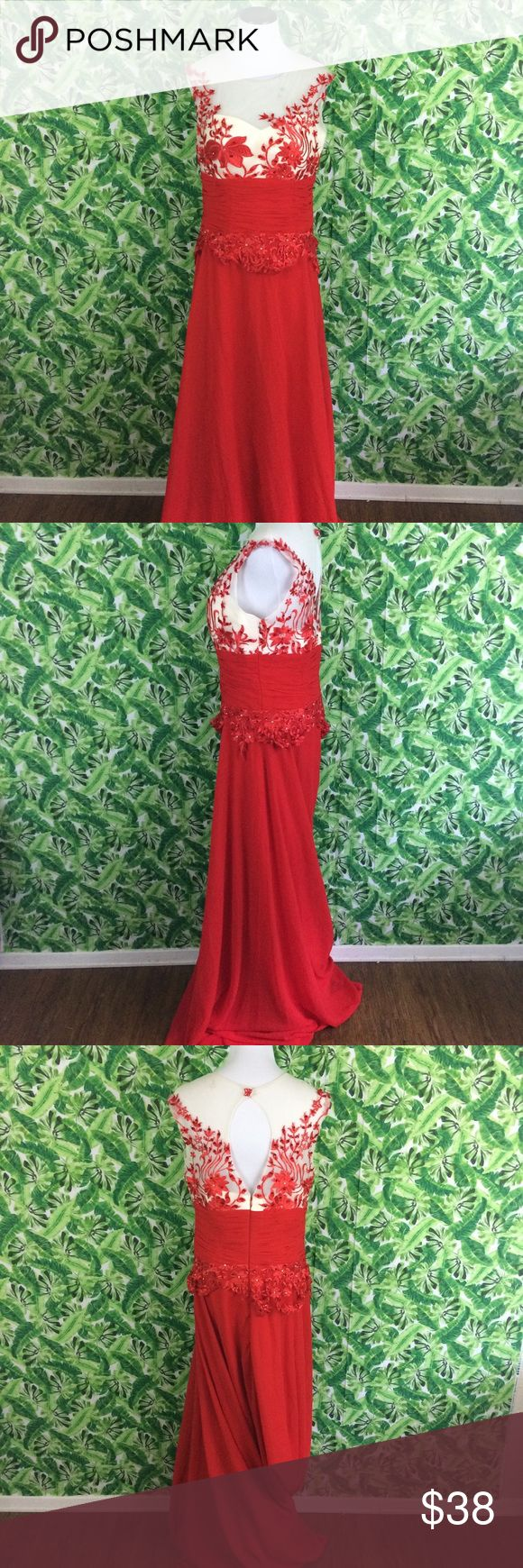 Red and cream formal dress with appliqué flowers 8 Red and white /cream formal dress. Size 8. Unbranded. Measures 19 inches across bust 16 inches across waist and 65 inches from shoulder to hem. Previously owned no holes tears or stains unbranded Dresses