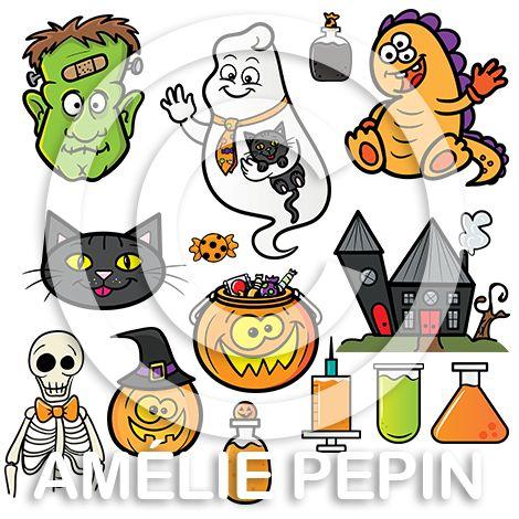 27 pictogrammes en couleurs + 23 pictogrammes en noir et blanc Format: PNG avec fond transparent Taille approximative: 8 po. X 8 po. @ 300 dpi  Le dossier contient: - 1 visage de Frankenstein - 1 fantôme - 1 visage de chat - 2 monstres - 1 squelette - 3 citrouilles - 1 ballon de l'Halloween - 1 maison - 2 bonbons en différentes couleurs - 6 bouteilles de potion - 2 éprouvettes - 3 seringues Ces pictogrammes sont conçus pour être imprimés d'une taille maximale de 8 po. X 8 po. Cliquez sur le…