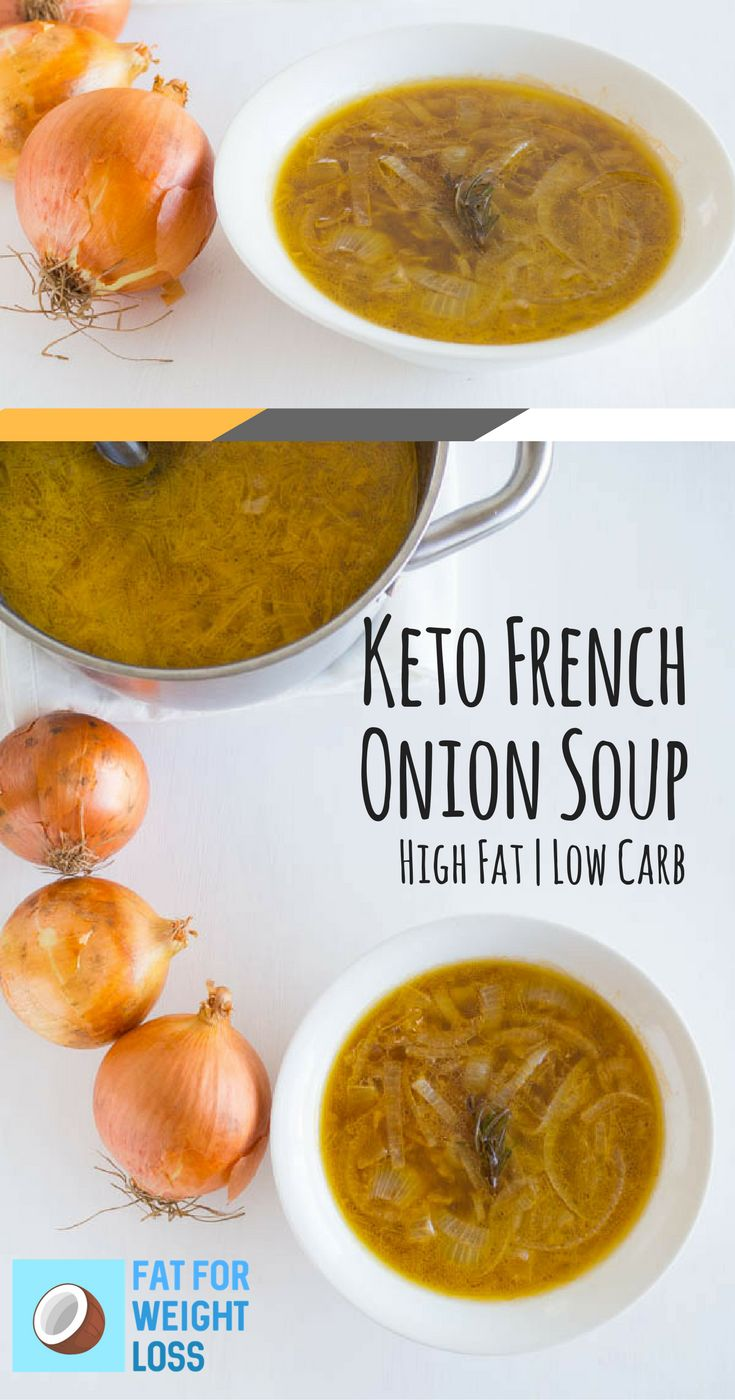 Keto French Onion Soup - Keto French Food Throughout history, onion soups were considered for the poor, as onions grew easily and became a staple. The modern version of the French onion soup originates from Paris, France, and is usually served topped with a slice of crusty bread and melted cheese. via @fatforweightlos