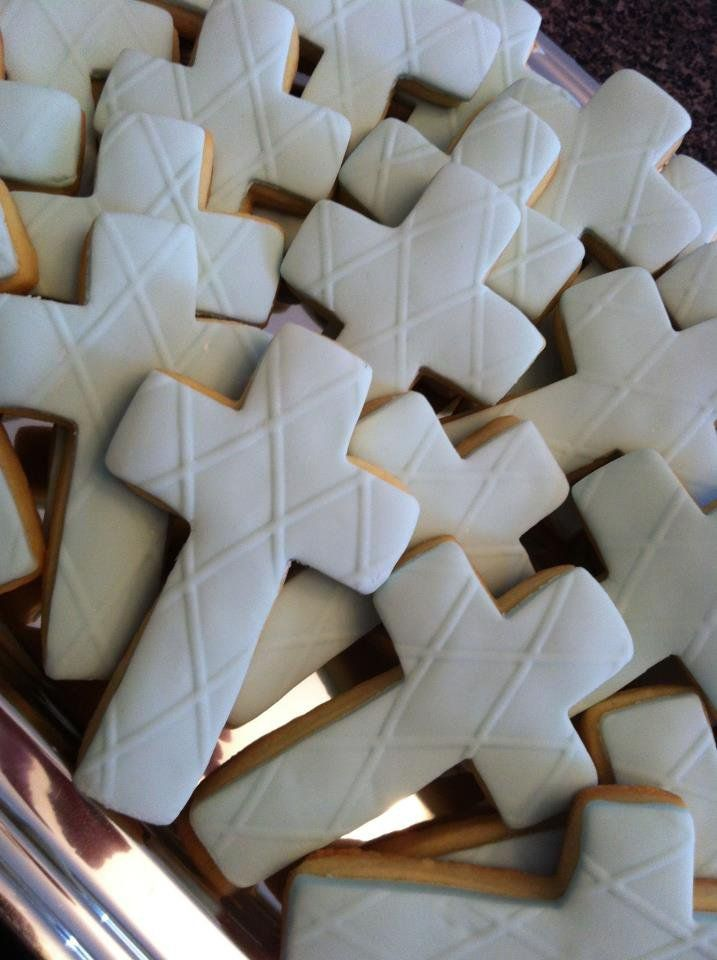 Blue fondant cross cookies