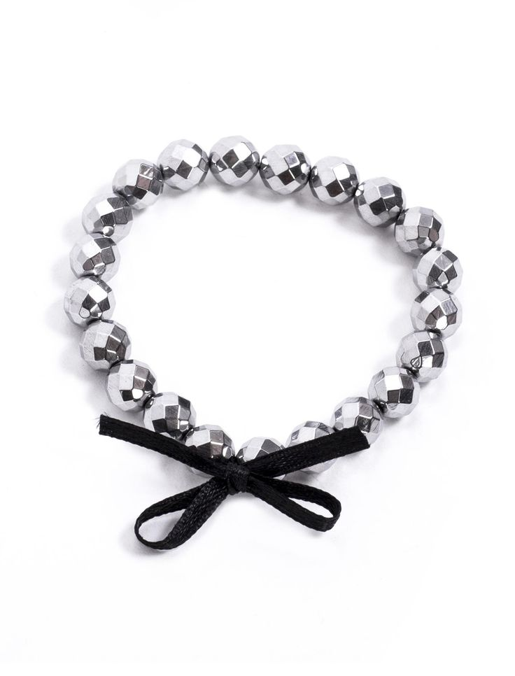 Silver Edge Bracelet  #bracelet #silver #ribbon #black #accessories