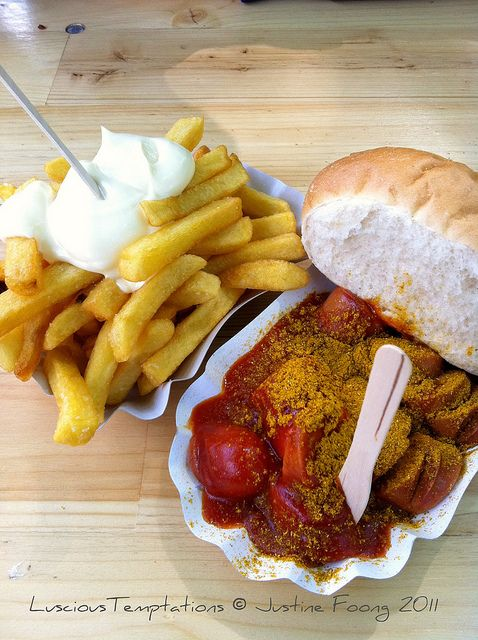 """Who's down for some currywurst? It's on my """"What to do in Berlin"""" list: http://www.esmetravels.com/what-to-do-in-berlin-part-one/"""