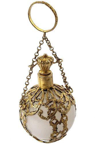 Antique French White Opaline Glass & Gilt Ormolu Chatelaine Scent Bottle, Flask | eBay