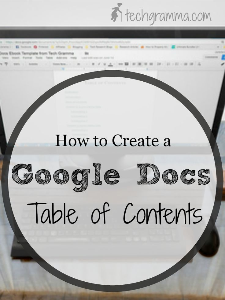 how to create contents page google docs