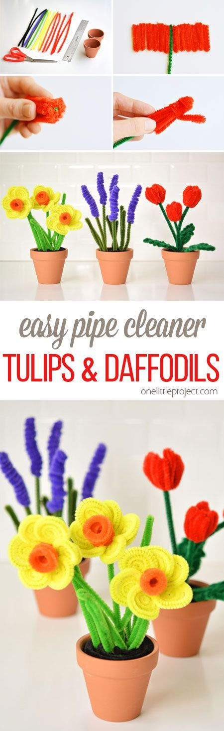 Easy Pipe Cleaner Daffodils and TulipsAmy Kelsch [mindful-shopper.com]