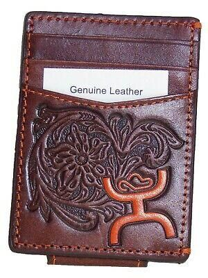 HOOey Mens Western Money Clip Credit Card Wallet Orange Logo Brown