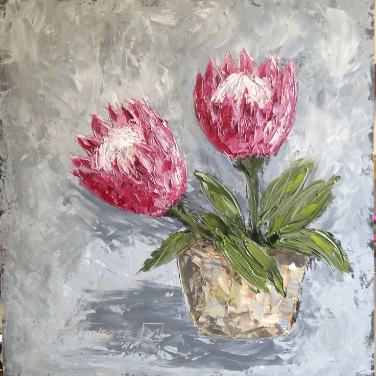 Glorious proteas By Juanette Menderoi Oil on board with pallet knife