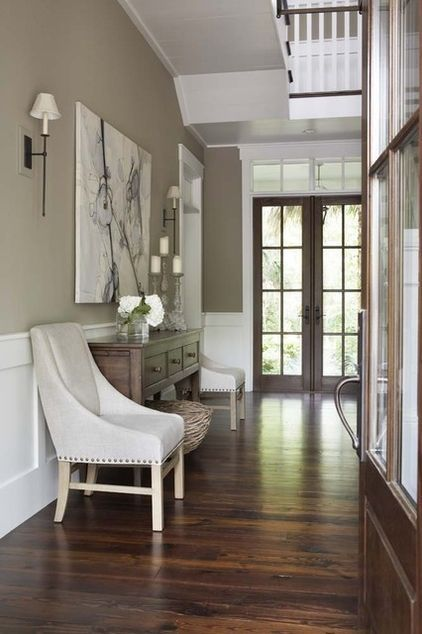 beige walls, white trim, dark wood. Another idea for the white panel in the hallway. It's a wide hallway...so we have more options.