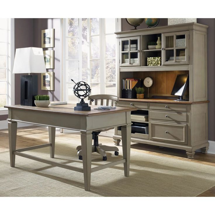 Liberty Furniture Bungalow Jr Executive Desk with Optional Credenza with Hutch | from hayneedle.com