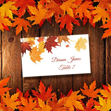 Your printable wedding place or escort card template is an instant download. The gorgeous rich fall leaves design is on both front and back of
