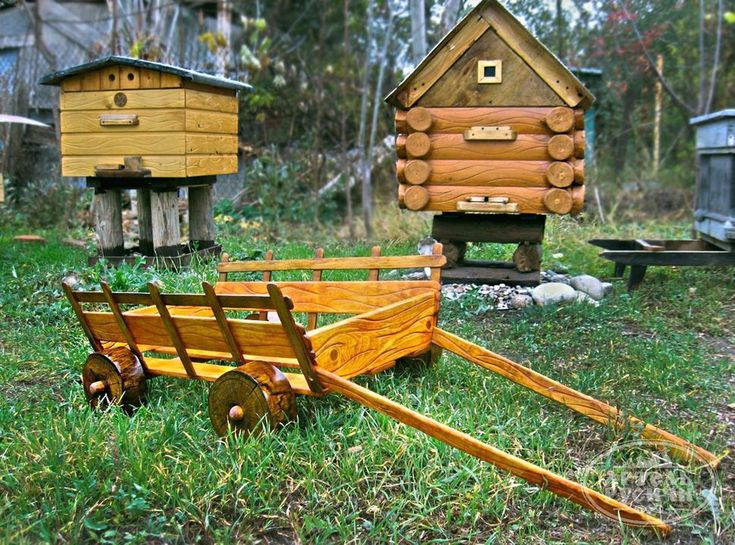 Купить Деревяная ТелеГа в саду - декоративная подставка - телега, Тачка, подставка для цветов, деревенский стиль