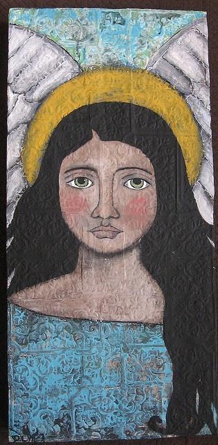 Green Eyes Folk Art Angel Painting by deniselynch2