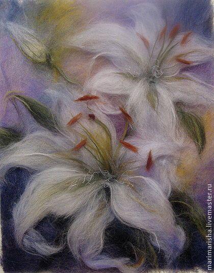 Картина из шерсти Белые Лилии - белый,картины из шерсти,живопись шерстью