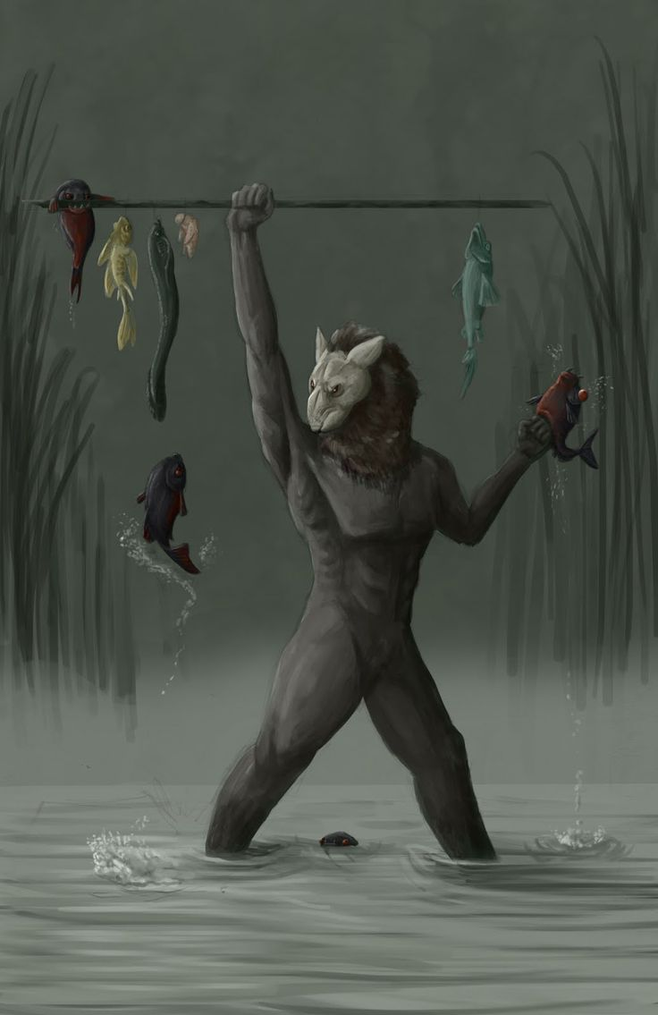 Wulver- Scottish folklore: a wolf headed man like creature. It wasnt a werewolf nor was it ever a human. It was an immortal, solitary being. It enjoyed fishing. It wasnt bad towards people, but if you messed with him he would mess with you.