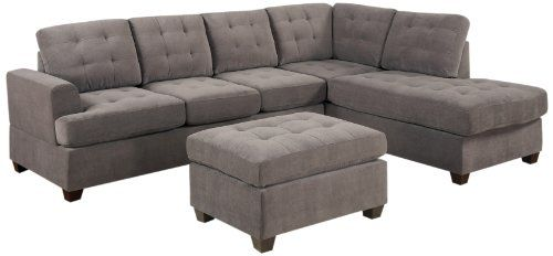 Bobkona Austin 3-Piece Reversible Sectional with Ottoman Sofa Set, Charcoal - http://activelivingessentials.com/home-essentials/bobkona-austin-3-piece-reversible-sectional-with-ottoman-sofa-set-charcoal/