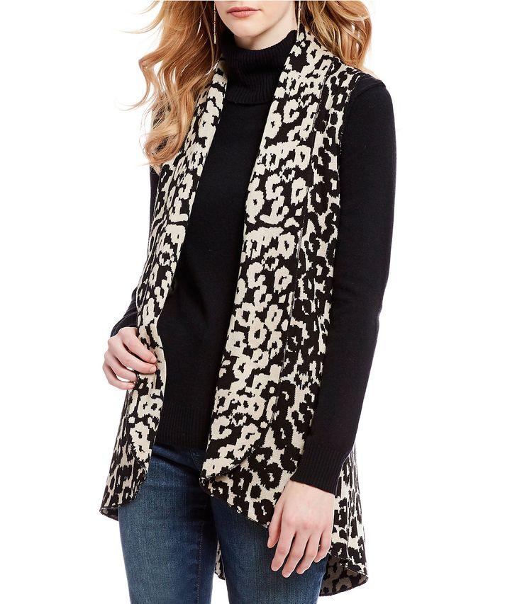 Cupio Animal Print Drape Cocoon Sweater Vest #Dillards