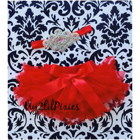 RED TUTU Bloomer and Baby Girl HEADBAND Set Red by my2lilpixies