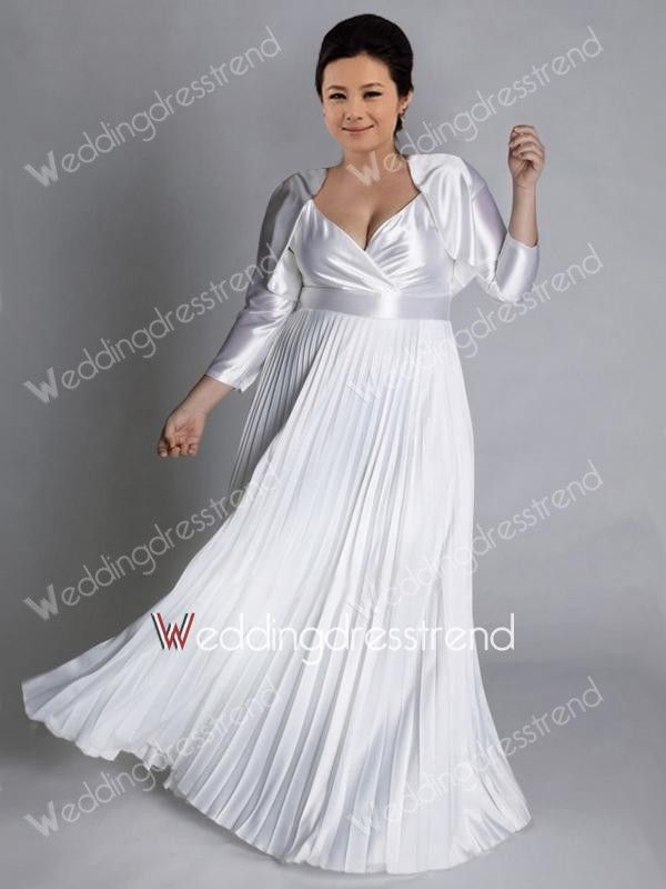 Luxurious A-line V-neck Floor-length Plus Size Wedding Dress