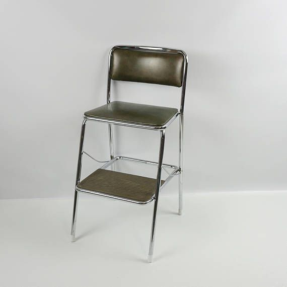 Vintage Metal Kitchen Step Stool Step Chair Made By Cosco Chrome Frame With  Deep Green Vinyl Covered Seat And Back Near Mint Clean All Original  Condition; ...