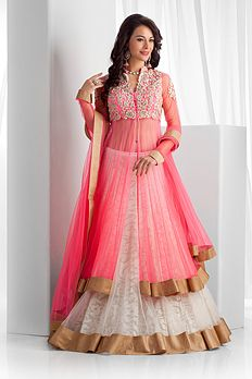 Pink, white and gold lengha - Benzer World 2014 collection
