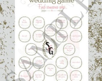 This wedding game is designed as an icebreaker for guests. The objective is to get up and find other guests that have things which are written square. Appropriate guest has to give a signature. Once the board is fully complete that guest wins! This game will bring a lot of fun ;) You can buy it once and print out thousands of times. You will be able to print this without a watermark at home or at a print shop of your choice. After you buy this product, you will get it as PDF and JPG file…