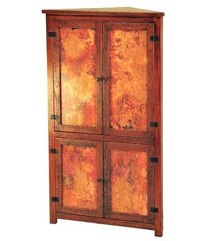 Tall Corner Cabinet With Copper Panels