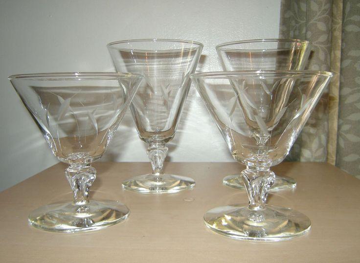 4 Princess House Sherbet Parfait Liquor Glasses, Etched Design Fancy Stem  #princesshouse