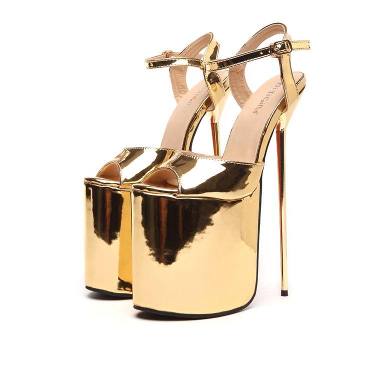 Tamanho 35 40 Ouro/Preto do Verão Das Mulheres Sandálias de Salto Alto 23 cm Sexy de Salto Alto Capa Sapatos de Stripper festa Sandálias Plataforma Gladiador em Sandálias das mulheres de Sapatos no AliExpress.com | Alibaba Group