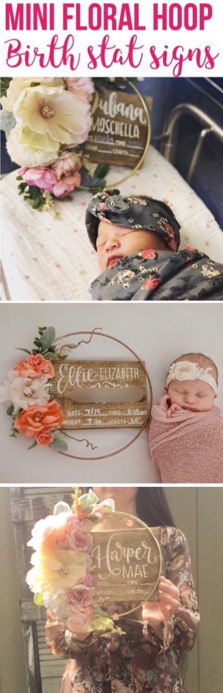 Geburtsstatistik Floral Hoop Krankenhaus Zeichen Geburtsstatistik Zeichen | Etsy   – Newborn photography