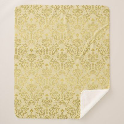 Pre- Order  Pre-order today! Your design will be made and shipped as soon as our manufacturers are ready to begin production.  Elegant Gold Vintage Damask Sherpa Blanket  $78.09  by UROCKDezineZone  - cyo diy customize personalize unique