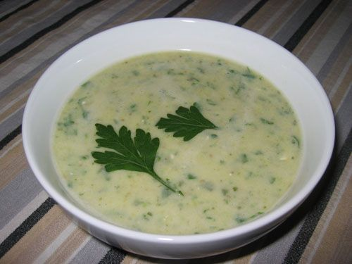 Soupe a la courgette  Ingredients:  1 cup chicken stock (or vegetable broth)  1 small zucchini (sliced)  1 small onion (sliced)  1 clove garlic (chopped)  1 teaspoon parsley (chopped)  1 pinch cumin  salt and pepper to taste  1 Laughing Cow cheese (La Vache Qui Rit or 1 tablespoon cream cheese)