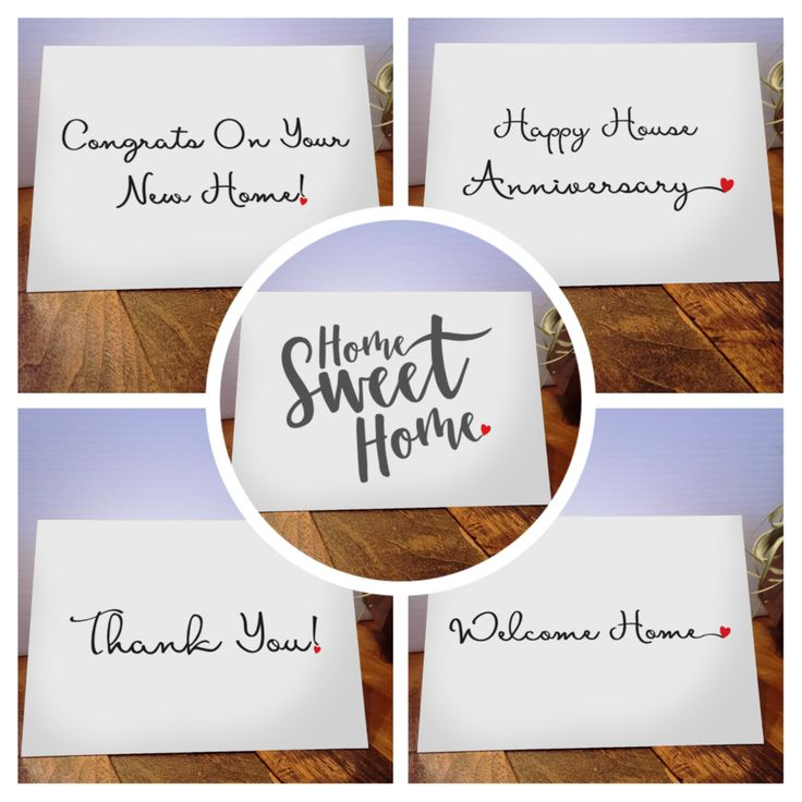 Our Multi Pack comes with 2 of ea of the following: - Welcome Home - Congrats on Your New Home! - Happy House Anniversary - Home Sweet Home - Thank you! w/cursive heart - Set comes with 10 cards - 6 x
