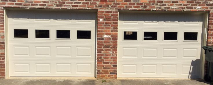 Two 9x7 Model 2251 Almond raised panel steel garage doors installed by the Richmond store.